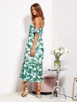 Biało-zielona sukienka maxi off shoulder w liście                                  zdj.                                  5