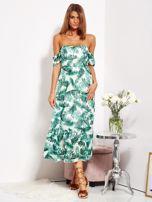 Biało-zielona sukienka maxi off shoulder w liście                                  zdj.                                  4