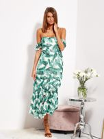 Biało-zielona sukienka maxi off shoulder w liście                                  zdj.                                  9