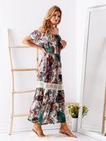Biało-zielona sukienka maxi z etnicznym nadrukiem                                  zdj.                                  3
