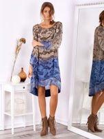 Brązowo-niebieska sukienka ombre z jedwabiem                                  zdj.                                  4