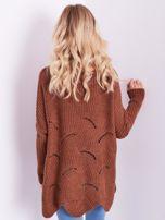SCANDEZZA Brązowy luźny sweter z ażurowaniem                                  zdj.                                  3