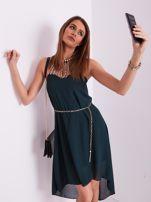 SCANDEZZA Ciemnozielona sukienka z aplikacją                                  zdj.                                  9