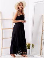 Czarna sukienka maxi z dekoltem carmen                                  zdj.                                  3