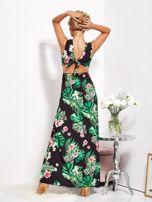 Czarna sukienka w kwiaty z rozcięciem i wiązaniem                                  zdj.                                  6