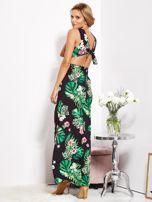 SCANDEZZA Czarna sukienka w kwiaty z rozcięciem i wiązaniem                                  zdj.                                  7