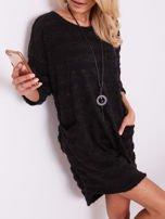 Czarna sukienka w paski                                  zdj.                                  2