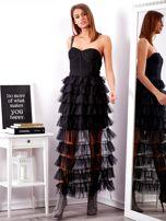 SCANDEZZA Czarna sukienka z warstwowymi falbanami                                  zdj.                                  1