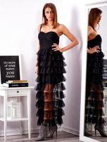 SCANDEZZA Czarna sukienka z warstwowymi falbanami                                  zdj.                                  3