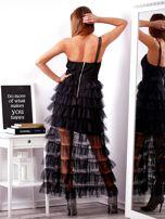 SCANDEZZA Czarna sukienka z warstwowymi falbanami                                  zdj.                                  2