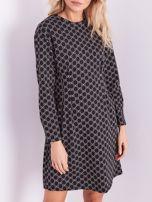 Czarna sukienka ze wzorem                                  zdj.                                  2