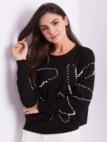 SCANDEZZA Czarny sweter z perełkami                                  zdj.                                  4