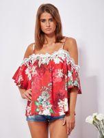 Czerwona lniana bluzka cold shoulder w kwiaty                                  zdj.                                  4