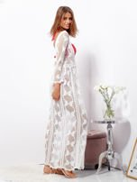 SCANDEZZA Ecru maxi sukienka plażowa z głębokim dekoltem                                  zdj.                                  3