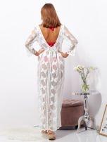 SCANDEZZA Ecru maxi sukienka plażowa z głębokim dekoltem                                  zdj.                                  2