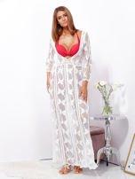 SCANDEZZA Ecru maxi sukienka plażowa z głębokim dekoltem                                  zdj.                                  7