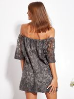 Grafitowa sukienka hiszpanka mini ze wzorem paisley                                  zdj.                                  6