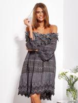 Grafitowa sukienka hiszpanka z koronką i perełkami                                  zdj.                                  3