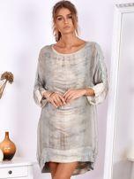 Khaki sukienka oversize z cekinami w malarski deseń                                  zdj.                                  5