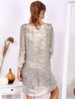 Khaki sukienka oversize z cekinami w malarski deseń                                  zdj.                                  3