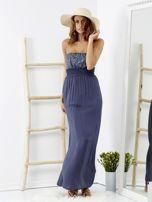 Niebieska sukienka maxi z cekinową górą                                  zdj.                                  4
