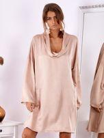 Pudroworóżowa luźna sukienka z jedwabiem                                  zdj.                                  2