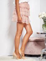 Pudroworóżowa mini spódnica z tiulem i falbanami                                  zdj.                                  3
