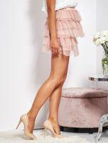 Pudroworóżowa mini spódnica z tiulem i falbanami                                  zdj.                                  6