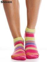 STEVEN Żółto-różowe bawełniane stopki w paski                                  zdj.                                  1