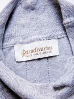 STRADIVARIUS Szara dzianinowa bluzka typu cropped z golfem