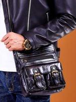 Skórzana torba męska czarna z kieszeniami                                  zdj.                                  5