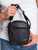 Skórzana torba męska listonoszka czarna                                  zdj.                                  2