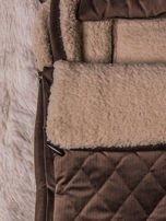 Śpiworek niemowlęcy pikowany do wózka lub łóżeczka z poduszeczką ocieplany na futerku brązowy                                  zdj.                                  4