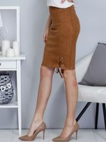 Spódnica brązowa z imitacji zamszu ze sznurowaniem                                   zdj.                                  3