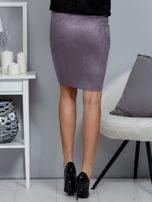Spódnica szara z imitacji zamszu ze sznurowaniem                                   zdj.                                  2