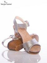 Srebrne sandały Sergio Leone na koturnach                                  zdj.                                  4