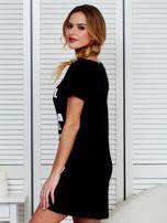 Sukienka bawełniana z napisami czarna                                  zdj.                                  5