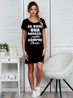 Sukienka bawełniana z napisami czarna                                  zdj.                                  4