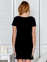 Sukienka czarna bawełniana z miłosnym nadrukiem                                  zdj.                                  2