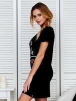 Sukienka czarna bawełniana z miłosnym nadrukiem                                  zdj.                                  5