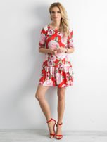 Sukienka czerwona w duże kwiaty z falbaną                                  zdj.                                  4