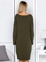 Sukienka damska dresowa o luźnym kroju khaki                                  zdj.                                  2