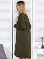Sukienka damska dresowa o luźnym kroju khaki                                  zdj.                                  5