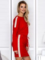 Sukienka damska dresowa z troczkami czerwona                                  zdj.                                  3