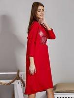 Sukienka damska z napisem z dżetów czerwona                                  zdj.                                  3