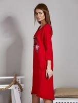 Sukienka damska z napisem z dżetów czerwona                                  zdj.                                  5