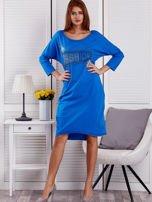 Sukienka damska z napisem z dżetów niebieska                                  zdj.                                  4