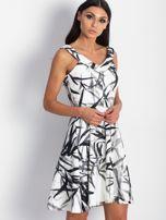 Sukienka ecru z motywem liści                                  zdj.                                  3