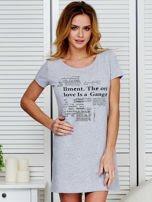 Sukienka jasnoszara bawełniana z nadrukiem newspaper                                  zdj.                                  1