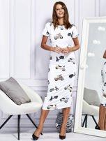 Sukienka maxi z nadrukiem skuterów biała                                  zdj.                                  4